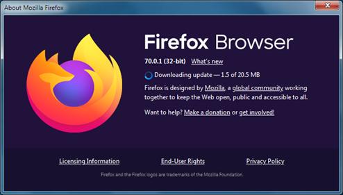 Firefox update window