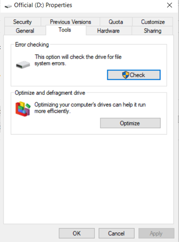 Scanning the driver to check for system error