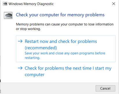 Running Windows Memory diagnostic