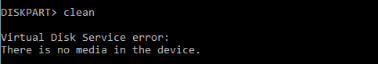 There is no media in the device error