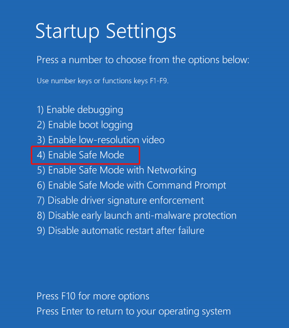 press-f4-to-enable-safe-mode
