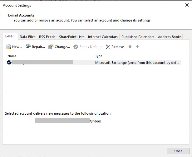 Email accounts in Outlook