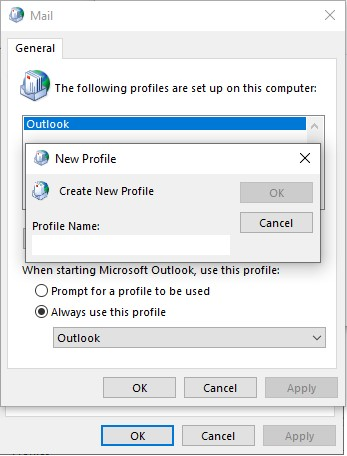 outlook new profile