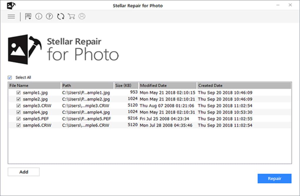 Repair added photos in stellar photo repair