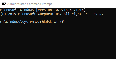 Chkdsk command line in CMD to fix SD card error
