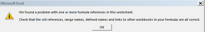 Excel found a problem with one or more formula references