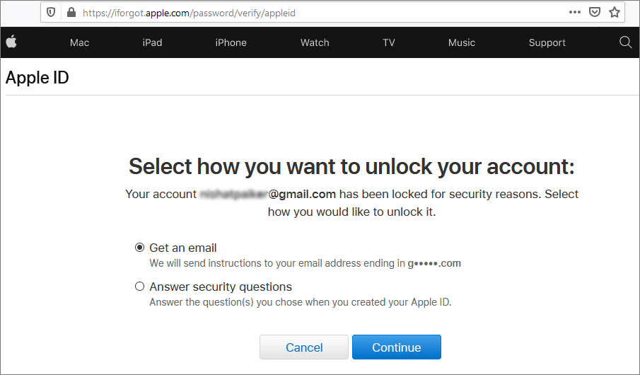 Options to recover Apple password via browser