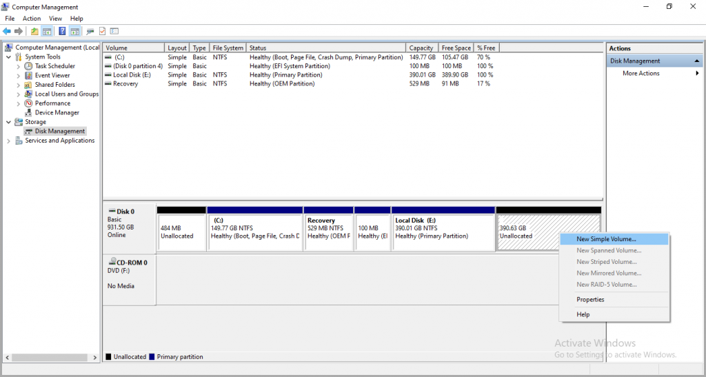 Unallocated drive in Disk Management