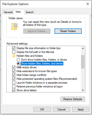 File Explorer window to unhide files on SD card