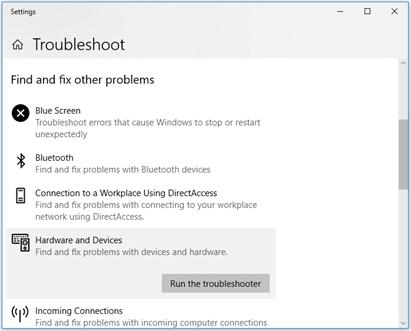 Run the troubleshooter option