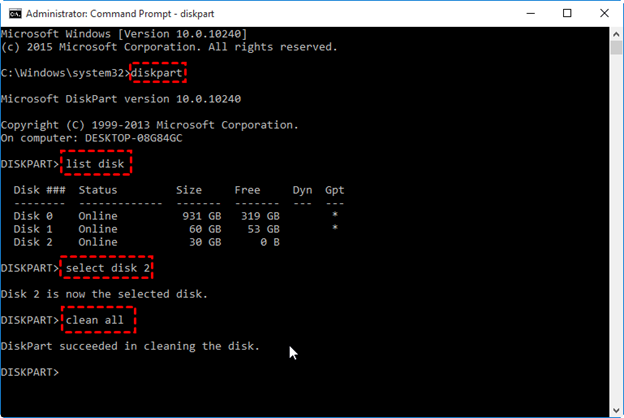 Using diskpart to delete external hard drive files in CMD command