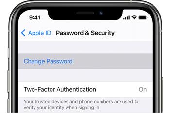 Change Password option on iPhone