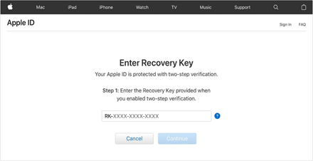 Recovery Key option for two-step verification