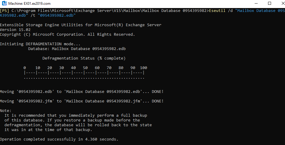 run database defragmentation task