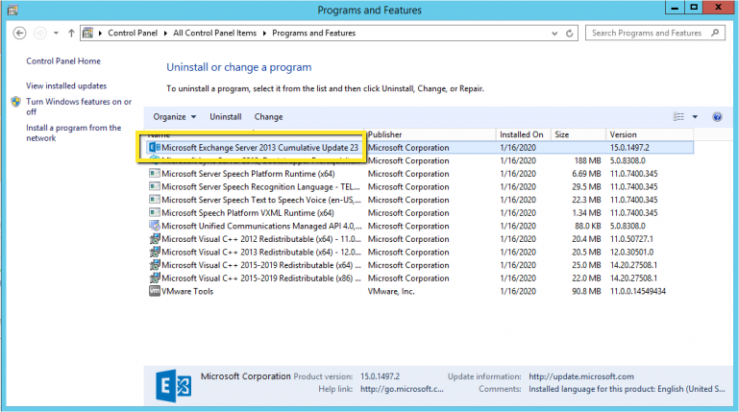 uninstall Exchange server