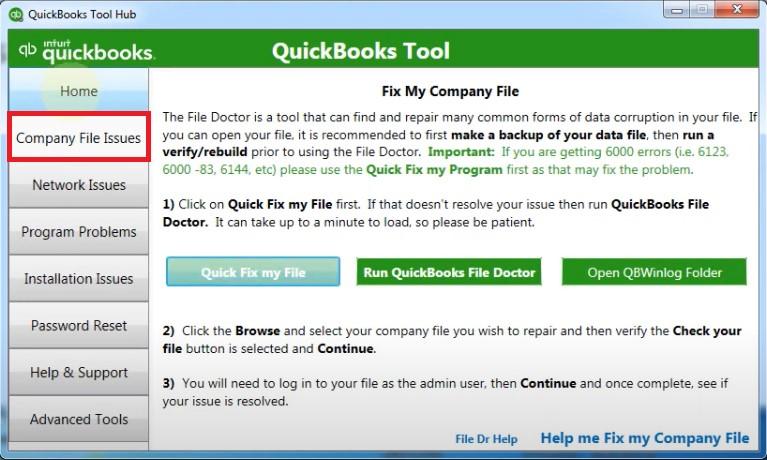 QB Tool Hub Company File Issues Screen