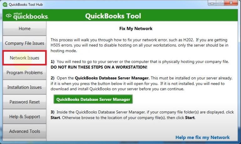 QB Tool Hub Network Issues Screen