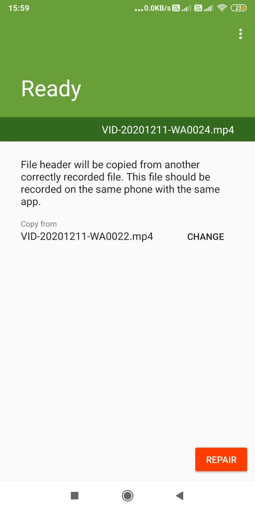 Sample file in MP4Fix app on Android