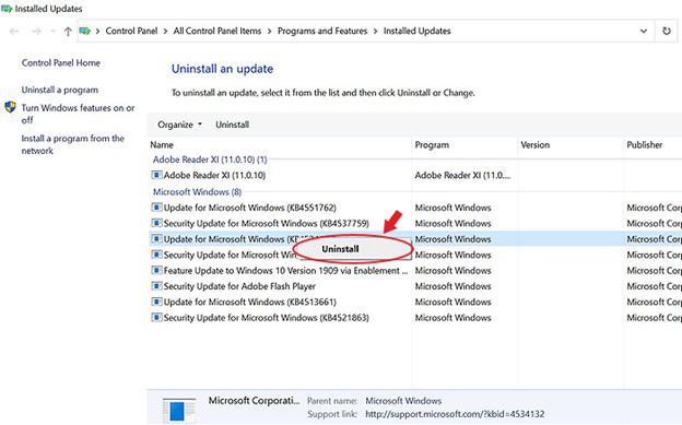 uninstall-problematic-Windows-10-problematic-update