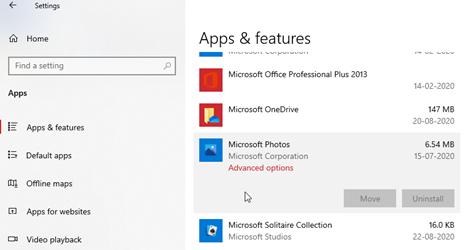 Microsoft Photos app under Settings