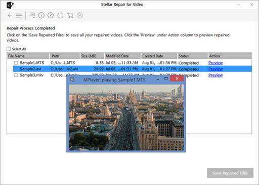 Stellar Repair for Video Preview repaired MP4 file