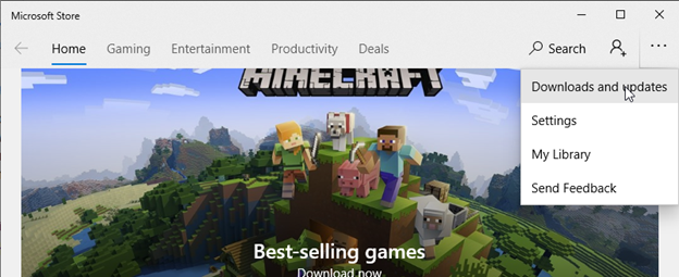 Download and updates in Microsoft Store