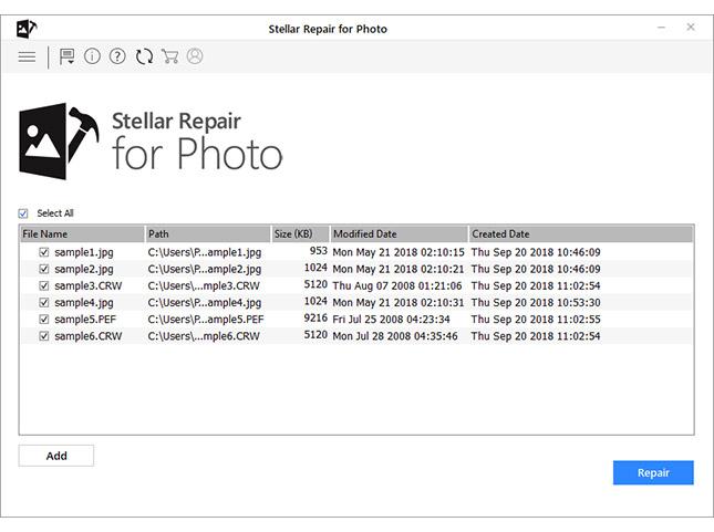 Repair button in Stellar photo repair software
