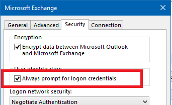 Always prompt for logon credentials checkbox