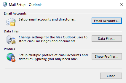 Show Profiles in Mail Setup window