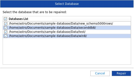 Select MySQL databases to be repaired