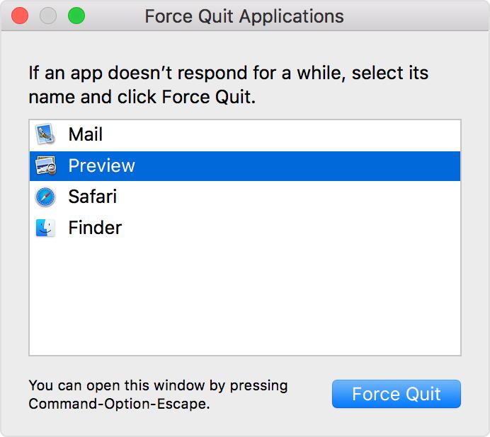 Force Quit apps window in Mac