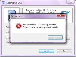Write protected SD card won't format