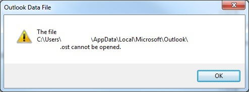 Outlook data file OST cannot be opened error window