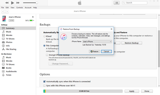 Restore from Backup in iTunes