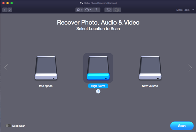 Select location for scan to recover photos