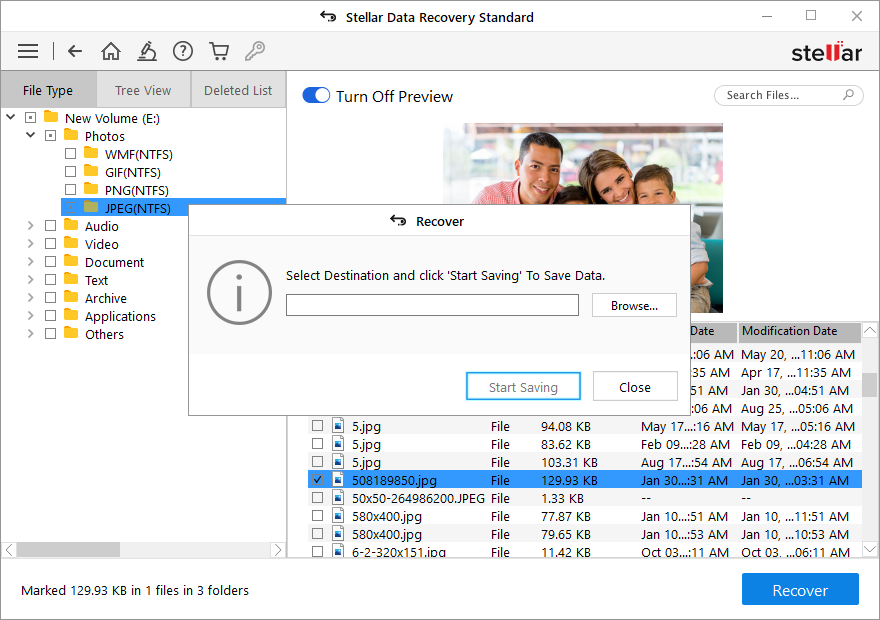 Stellar Data Recovery Standard - Select Location to Save