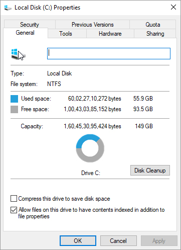 Disk Cleanup button