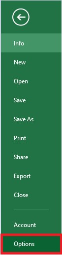 Select Options in Excel 2010