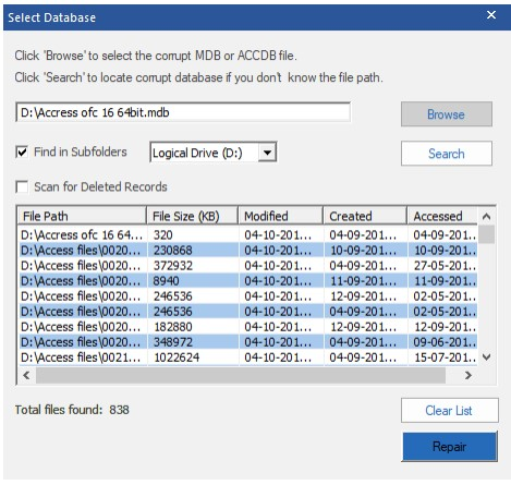 choose the Access database file