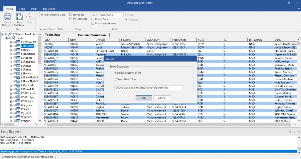 save the repaired Access db file