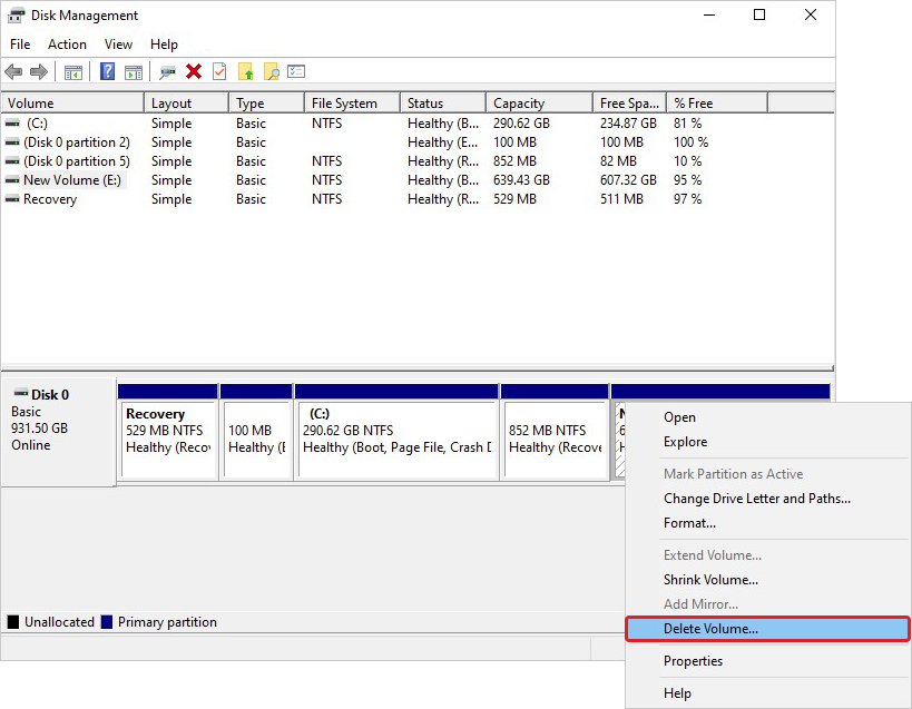 Select Partition to Delete