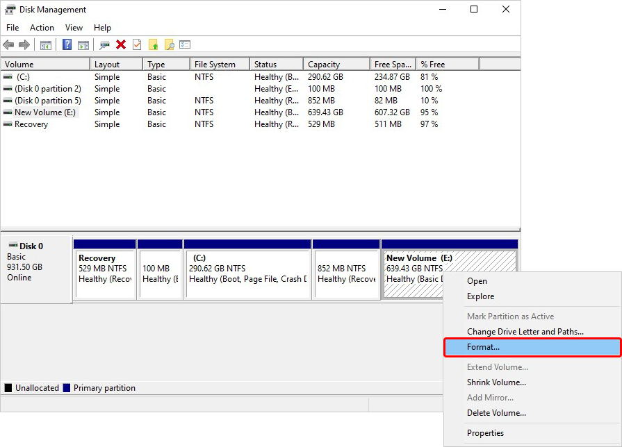 Select Drive Volume to Format