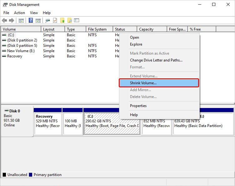 Click on Drive to Partition and Shrink