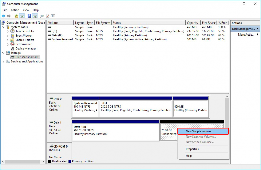 Select New Simple Volume to Create Partition