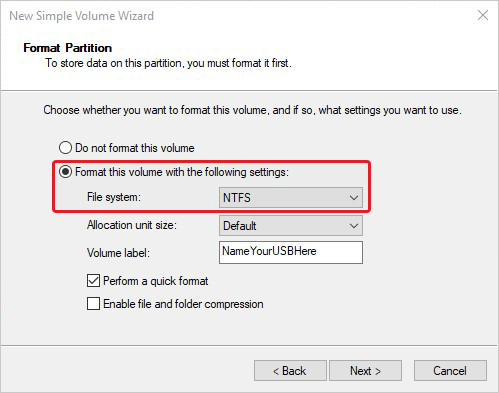 Format the Hard Drive with NTFS