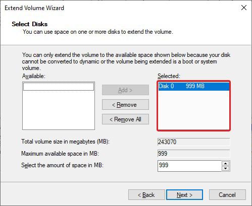 Specify Volume to Extend Volume