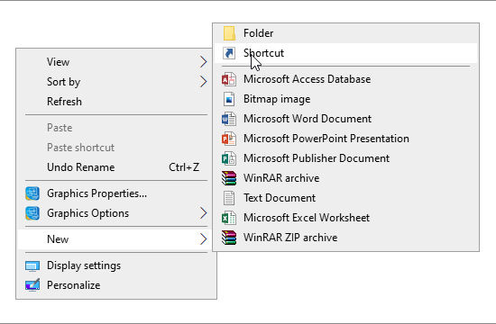Figure: Shortcut option in Windows 10