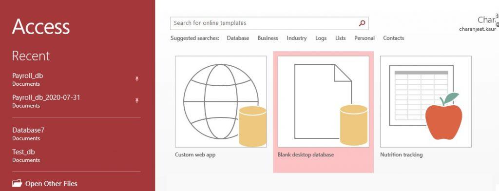 Open a Blank desktop database