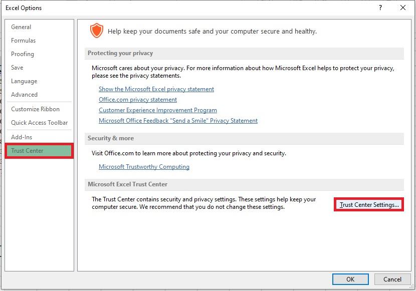 Trust center settings in Excel