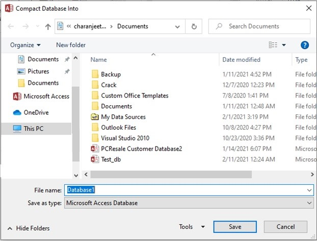 Save the Compacted and Repaired Database